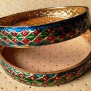 Adorable Adjustable Green Meenakari Bangles Set Online